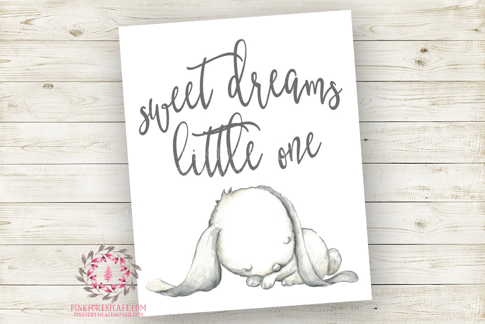 Sweet Dreams Little One Bunny Rabbit Watercolor Wall Art Print Baby Girl Nursery Poster Room Printable Decor