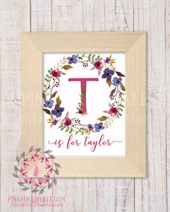 Baby Monogram Initial Personalized Wall Art Print Initials Birth Announcement Gift Watercolor Woodland Floral Rustic Baby Nursery Home Printable Decor