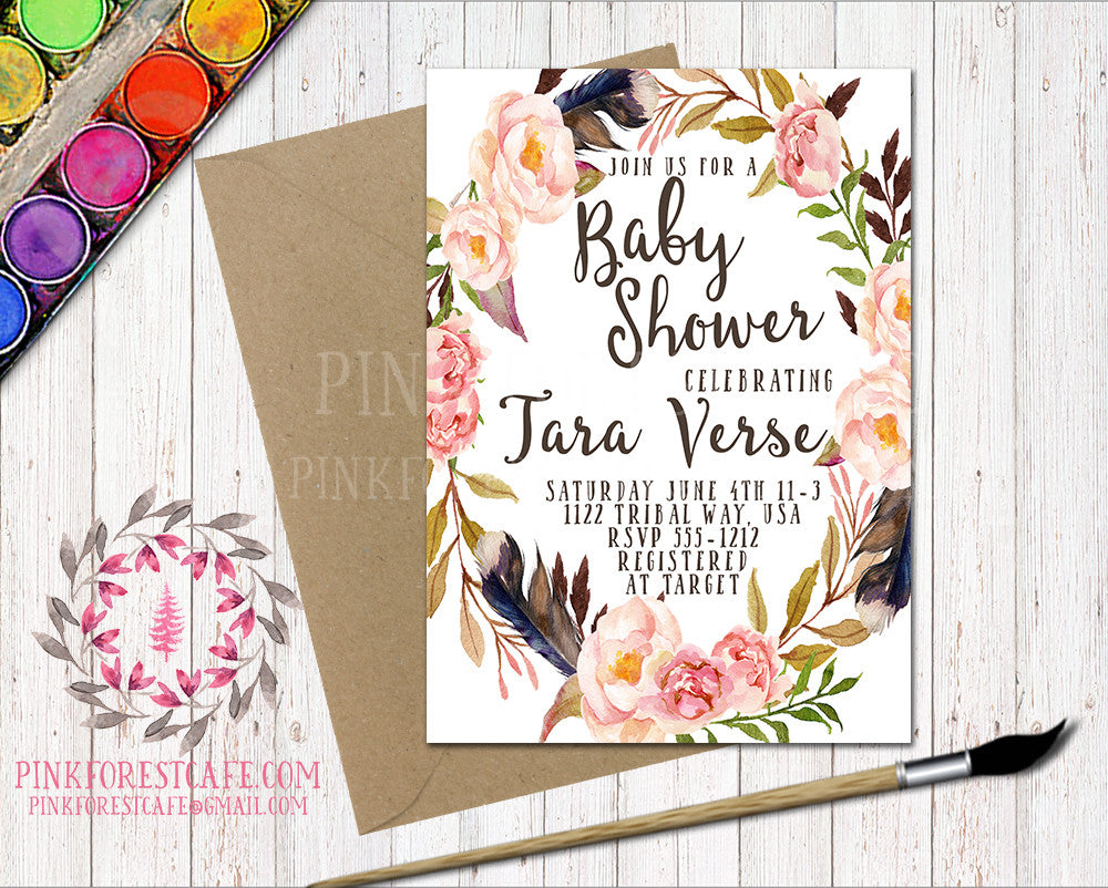 Boho Baby Bridal Shower Birthday Party Feather Tribal Printable Invitation Invite Announcement