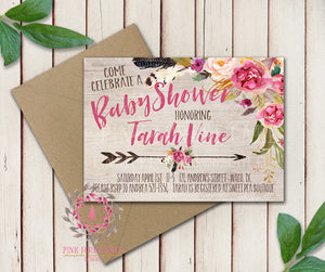 Baby Bridal Shower Birthday Party Wedding Invitation Save The Date Announcement Invite Feathers Tribal Woodland Watercolor Floral Rustic Printable Art Stationery Card