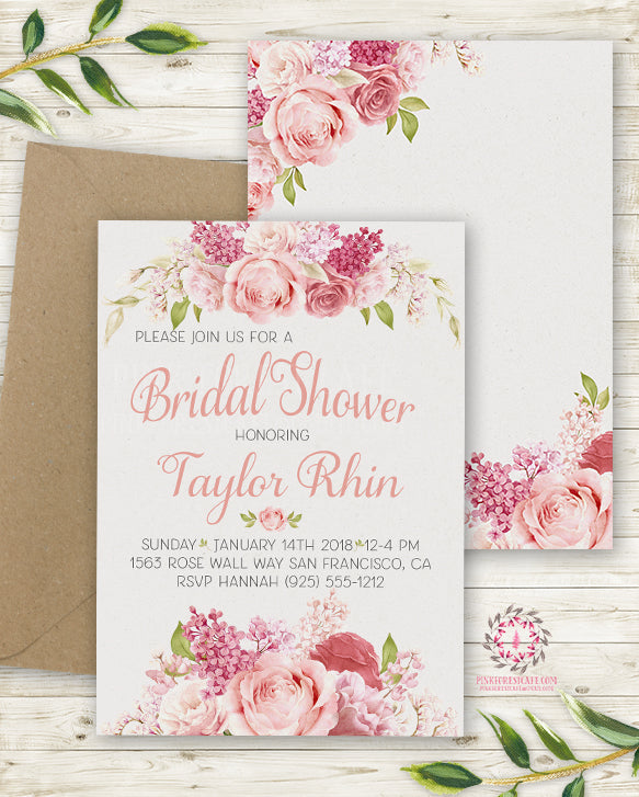 rose blush bridal shower invite invitation 2 sided wedding save the date floral pink watercolor printable