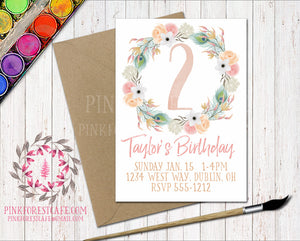 Boho 1st 2nd 3rd 4th 5th Watercolor Floral Birthday Party Printable Invite Invitation