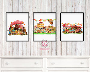 SALE 3 Deer Fox Bunny Rabbit Tea Party Wall Art Print Woodland Boho Bohemian Floral Nursery Baby Girl Bedroom Set Lot Prints Printable Decor