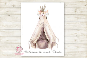 Boho Welcome To Our Tribe Print Wall Art Watercolor Teepee Floral Tribal Woodland Rustic Printable Bohemian Decor