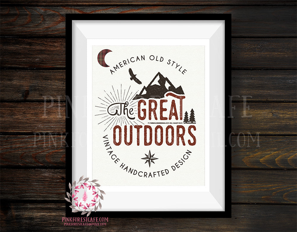 The Great Outdoors Mountains Adventure Rustic Woodland Nursery Baby Boy Room Prints Printable Print Wall Art Decor