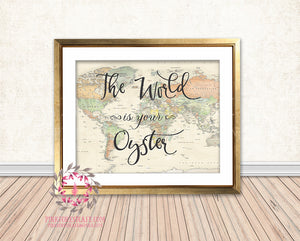 The World Is Your Oyster Graduation Vintage Map Printable Wall Art Print Nursery Decor