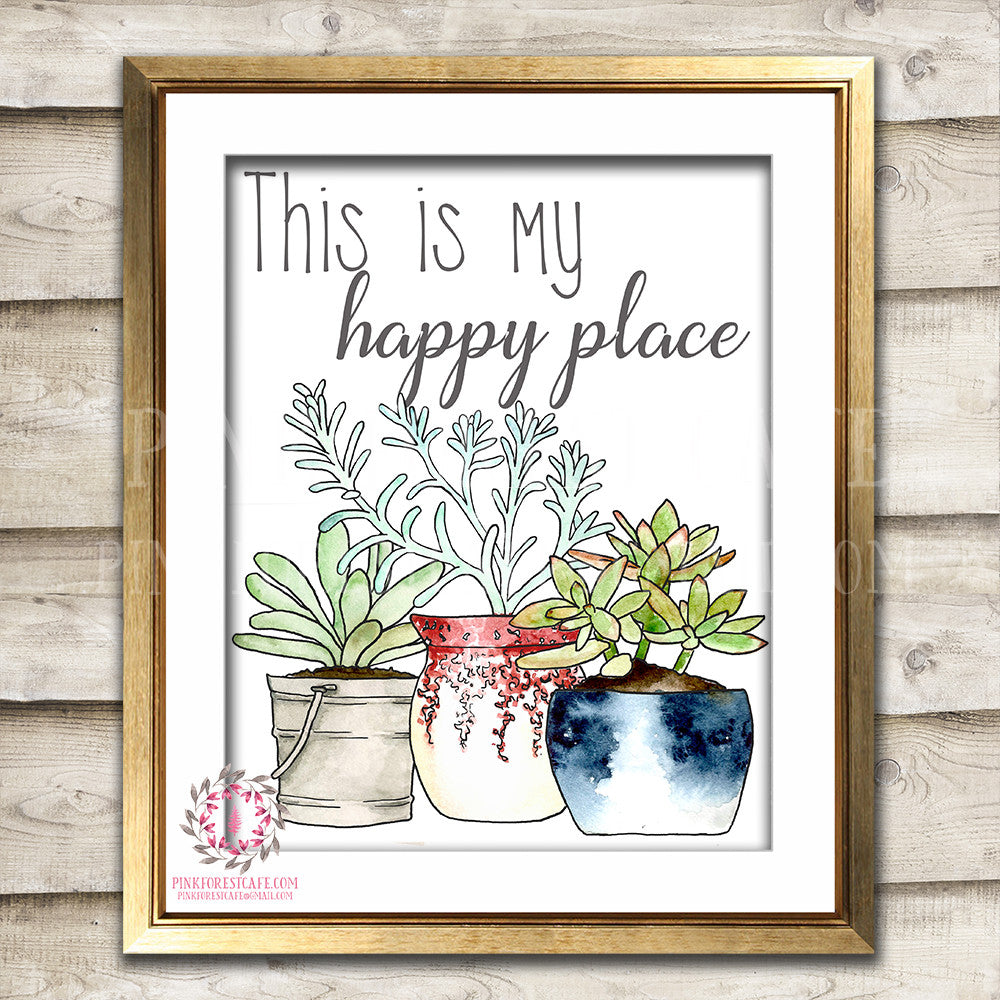 This Is My Happy Place She Shed Boho Succulent Cactus Shabby Printable Wall Art Print Poster Sign Bohemian Room Watercolor Decor