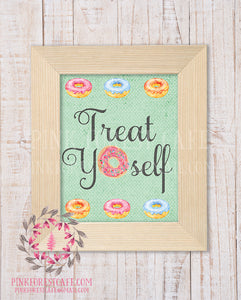 Donut Treat Yourself Printable Print Wall Art Watercolor Nursery Room Home Office Decor