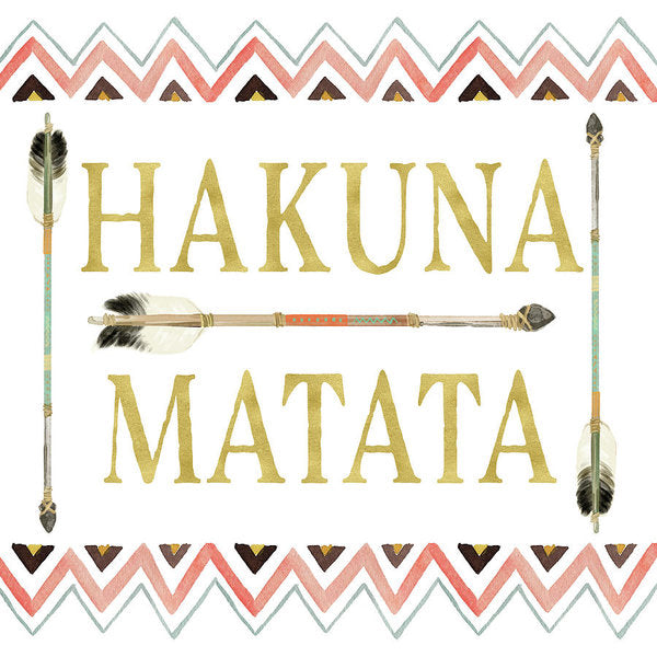 Tribal Arrow Gold Hakuna Matata - Art Print
