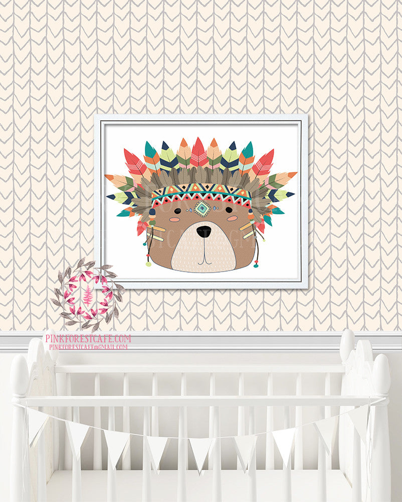 Tribal Bear Woodland Watercolor Baby Nursery Printable Print Wall Art Decor