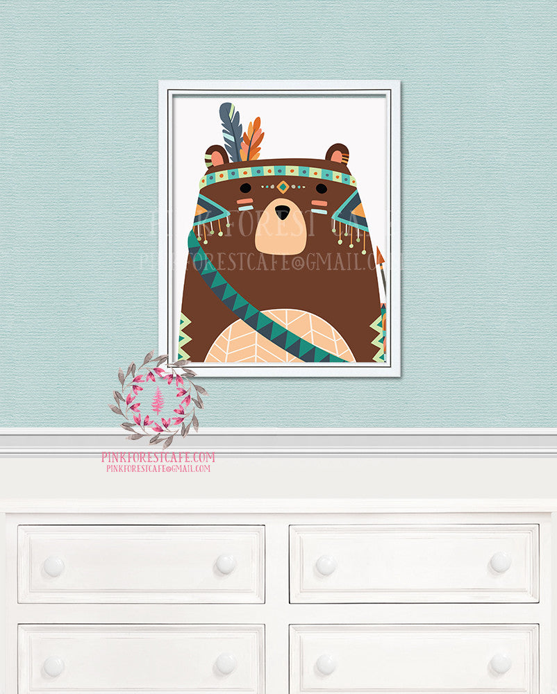 Bear Tribal Arrow Boho Woodland Printable Print Wall Art Nursery Decor