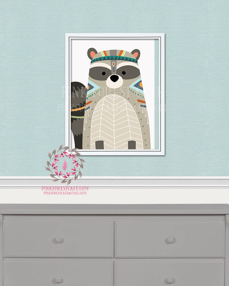 Raccoon Woodland Printable Wall Art Nursery Decor Kids Room Print