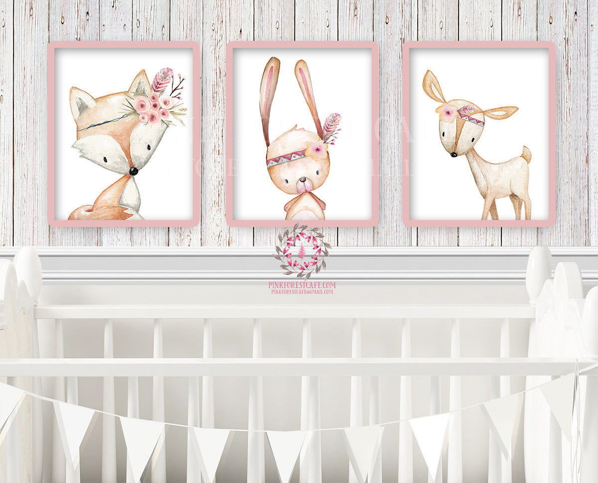 3 Deer Fox Bunny Rabbit Tribal Printable Print Wall Art Woodland Boho Bohemian Floral Nursery Baby Girl Bedroom Set Lot Prints Decor