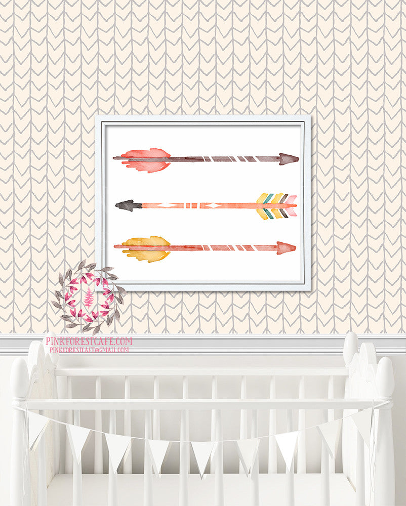Boho Arrow Tribal Woodland Printable Print Wall Art Baby Girl Kids Nursery Decor