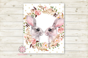 Bunny Rabbit Boho Woodland Nursery Wall Art Print Baby Kids Room Floral Watercolor Printable Decor
