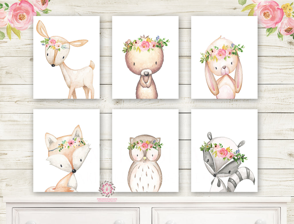 SALE 6 Deer Fox Bunny Rabbit Bear Woodland Boho Wall Art Print Nursery Set Bohemian Raccoon Owl Floral Nursery Baby Girl Room Prints Printable Home Decor