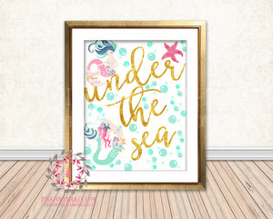 Under The Sea Gold Mermaid Nursery Baby Girl Nautical Room Printable Print Wall Art Decor