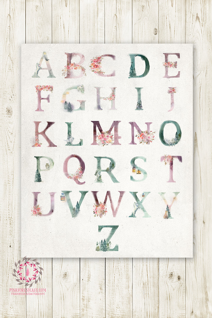 Unicorn Ethereal ABC Woodland Wall Art Print Sampler Alphabet Baby Nursery Rustic Printable Decor