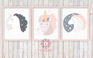 Sleeping Unicorn Set 3 Baby Girl Nursery Boho Scandinavian Room Printable Wall Art Prints Poster Nursery Decor