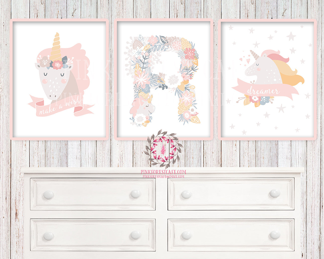 Sleeping Unicorn Set 3 Baby Girl Boho Scandinavian Room Printable Wall Art Monogram Initial Prints Poster Nursery Decor