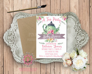 Tea Party Tea Pot Baby Bridal Shower Birthday Party Printable Invitation Invite