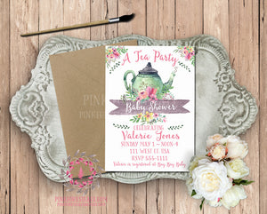 Tea Party Tea Pot Invite Invitation Baby Bridal Shower Birthday Party Printable Card