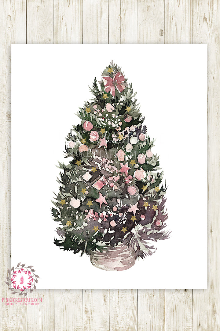Victorian Christmas Tree Woodland Holiday Wall Art Print Floral Watercolor Printable Home Decor