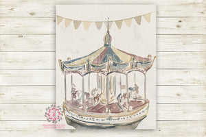 Monochrome Carousel Vintage Carnival Ride Merry Go Round Nursery Wall Art Print Horse Ethereal Amusement Park Woodland Rustic Boho Printable Watercolor Mystery Fantasy Magical Decor