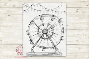 Monochrome Ferris Wheel Vintage Carnival Ride Nursery Wall Art Print Black White Ethereal Amusement Park Woodland Rustic Boho Printable Watercolor Mystery Fantasy Magical Decor