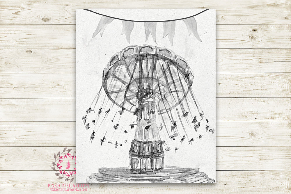 Monochrome Vintage Swing Carnival Ride Nursery Wall Art Print Ethereal Black White Amusement Park Woodland Rustic Boho Printable Watercolor Mystery Fantasy Magical Decor