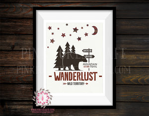 Bear Wanderlust Plaid Adventure Rustic Woodland Nursery Baby Boy Room Prints Printable Print Wall Art Decor