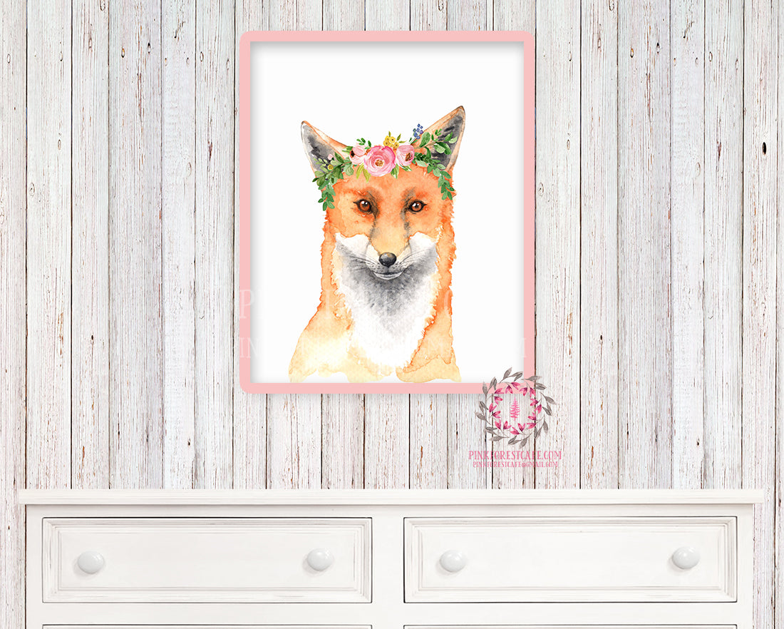 Boho Fox Nursery Wall Art Print Print Woodland Watercolor Floral Baby Room Kids Bedroom Decor