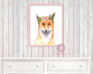 Boho Watercolor Fox Woodland Nursery Printable Wall Art Print Kids Baby Girl Room Playroom Poster Home Decor