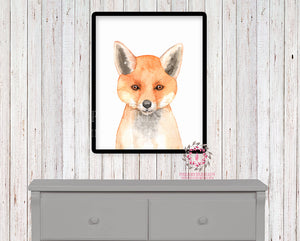Watercolor Fox Woodland Nursery Printable Wall Art Print Kids Baby Boy Room Playroom Poster Home Decor