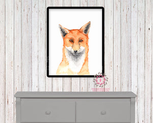 Watercolor Fox Woodland Nursery Printable Wall Art Print Kids Baby Boy Girl Room Playroom Poster Home Decor