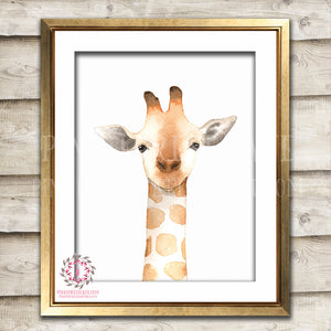 Giraffe Nursery Wall Art Print Safari Zoo Print Watercolor Floral Bohemian Baby Girl Room Kids Bedroom Decor