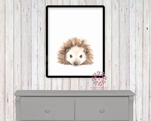 Watercolor Hedgehog Woodland Nursery Printable Wall Art Print Kids Baby Room Playroom Poster Home Decor