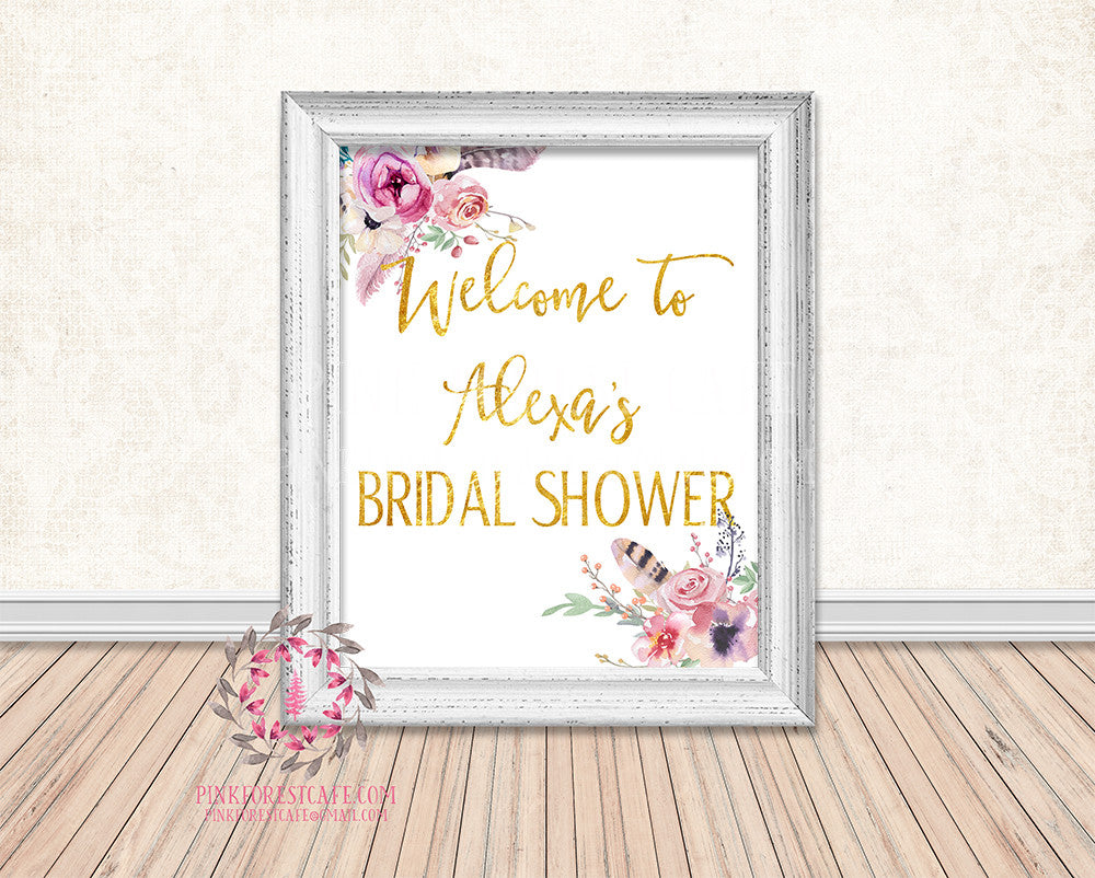 Boho Woodland Baby Bridal Shower Birthday Party Personalized Poster Sign Printable Print
