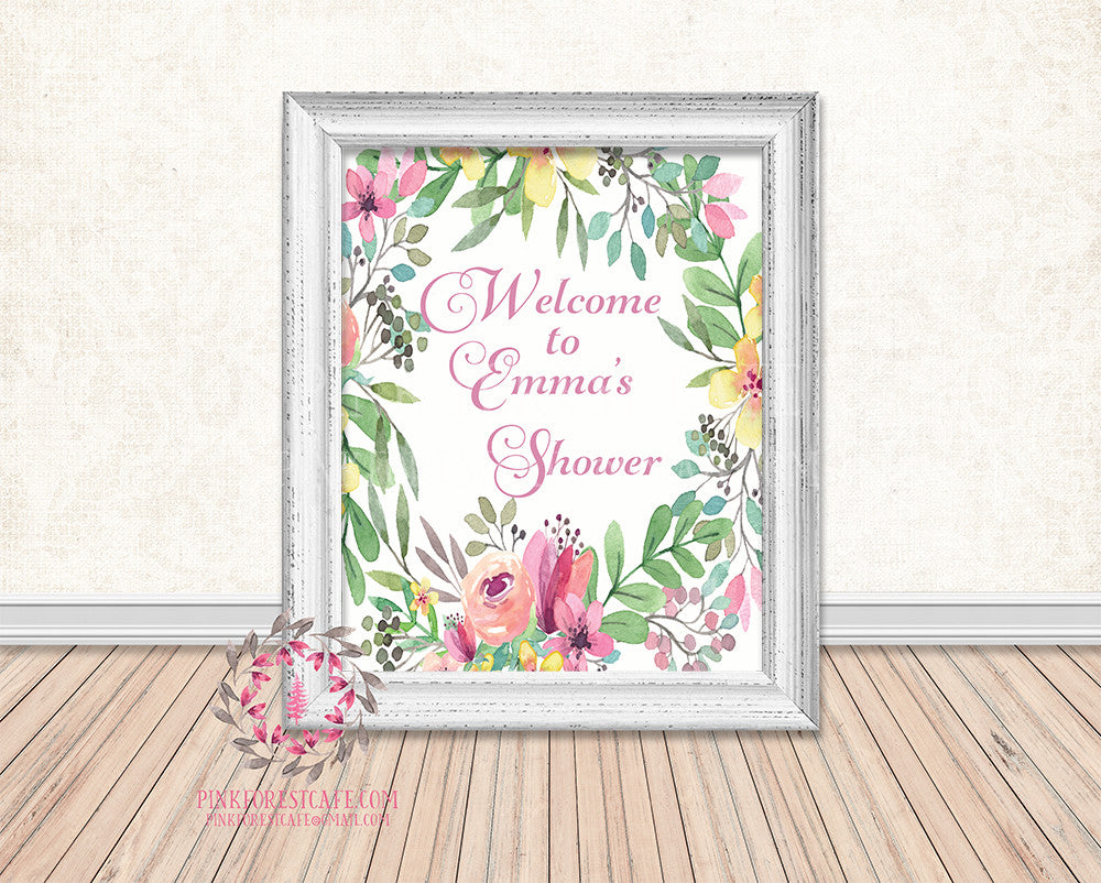 Personalized Boho Floral Baby Bridal Shower Welcome to Birthday Party Supply Decor Printable Sign Poster Print Wall Art