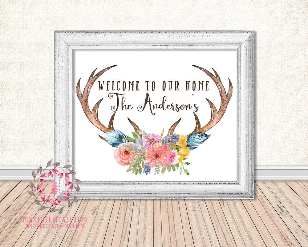 Personalized Welcome To Our Home Boho Antlers Woodland Printable Print