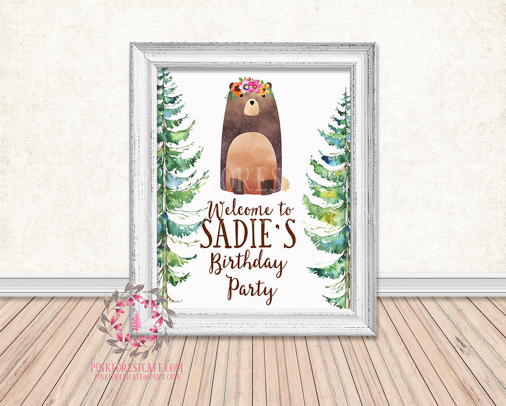 Woodland Baby Bridal Shower Birthday Party Personalized Poster Sign Printable Print