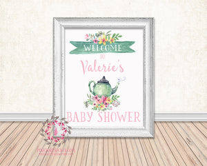 Tea Party Baby Bridal Shower Birthday Party Personalized Poster Sign Printable Print