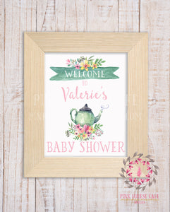 Personalized Tea Party Teapot Boho Floral Baby Bridal Shower Welcome to Birthday Party Supply Decor Printable Sign Poster Print Wall Art