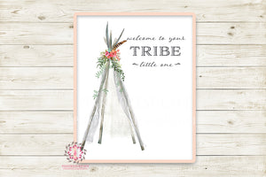 Welcome To Your Tribe Little One Tribal Teepee Boho Wall Art Print Baby Girl Nursery Room Watercolor Printable Feathers Decor