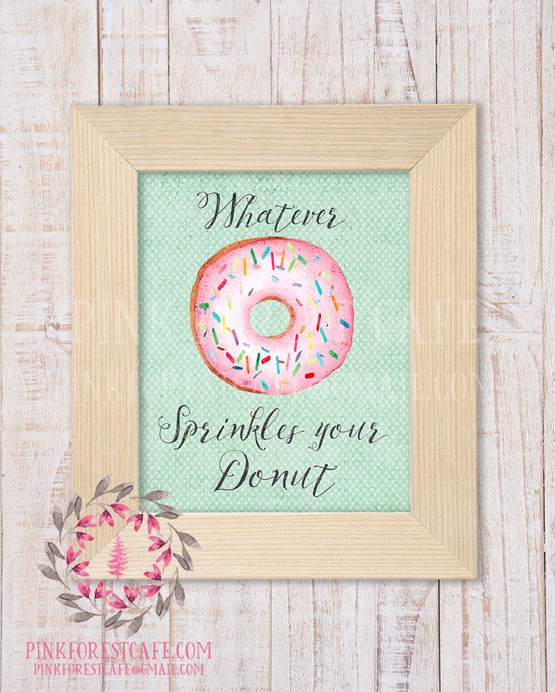 Donut Printable Print Wall Art Watercolor Nursery Room Home Office Decor