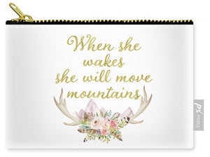 When She Wakes She Will Move Mountains Deer Antlers - Carry-All Pouch