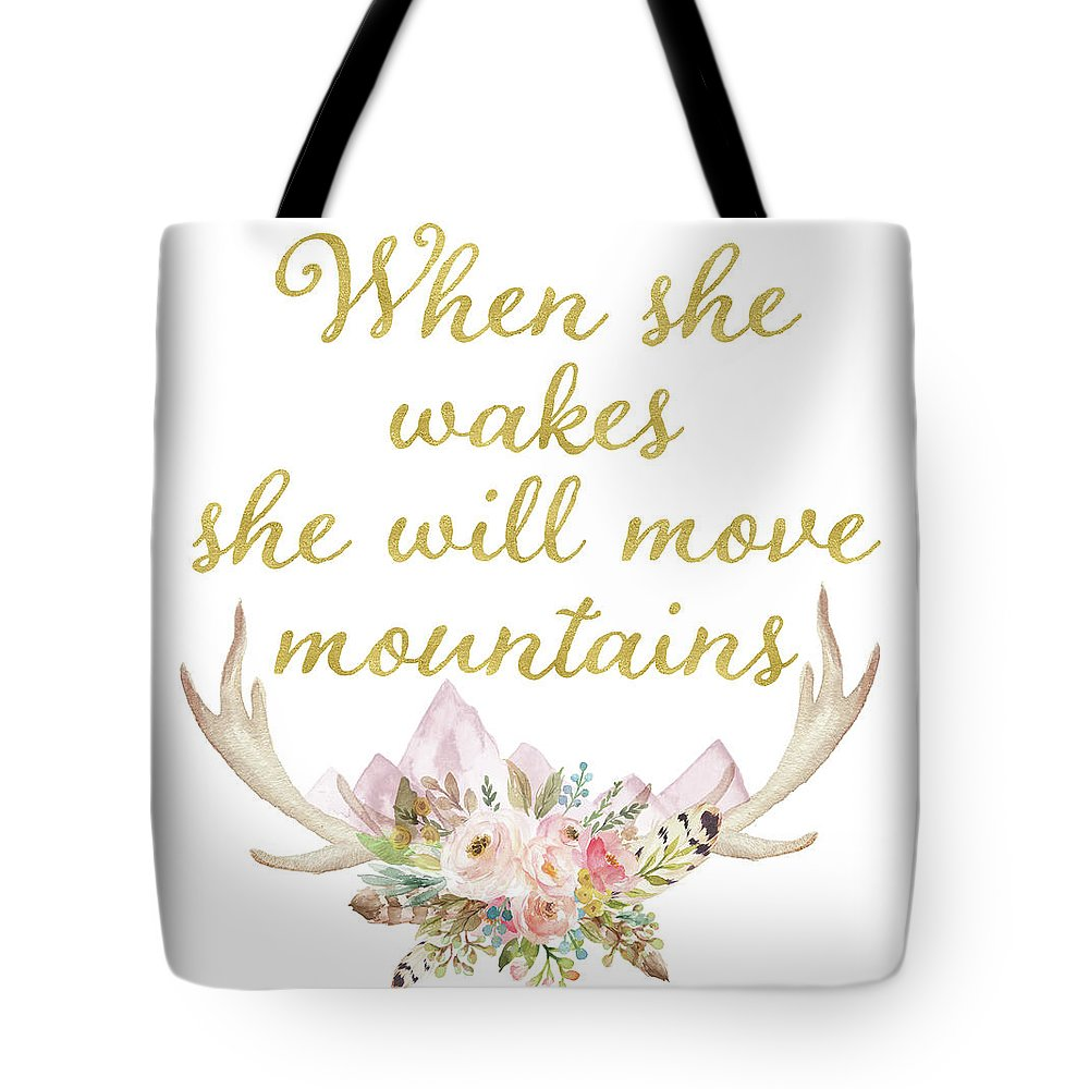 When She Wakes She Will Move Mountains Deer Antlers - Tote Bag