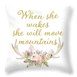 When She Wakes She Will Move Mountains Deer Antlers Throw Pillow Baby Nursery Home Decor