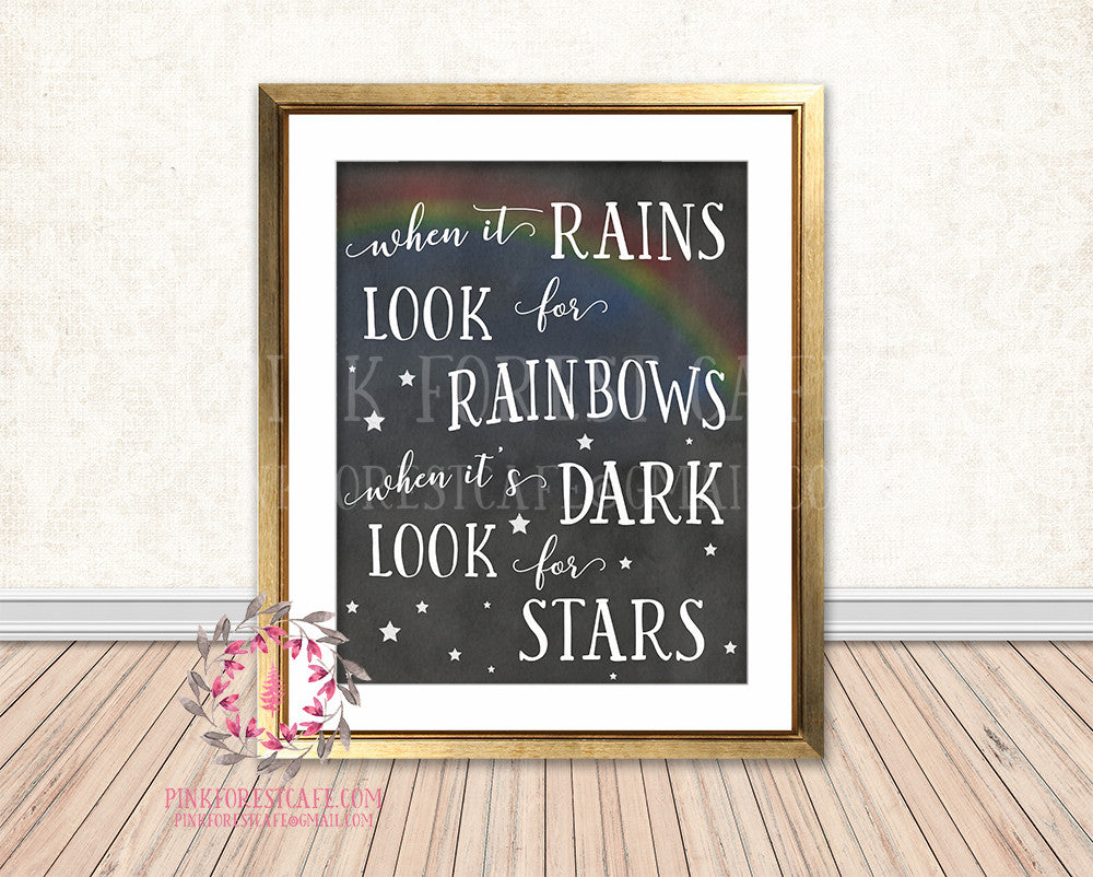 When It Rains Look For Rainbows Chalkboard Woodland Nursery Baby Kids Room Printable Print Wall Decor