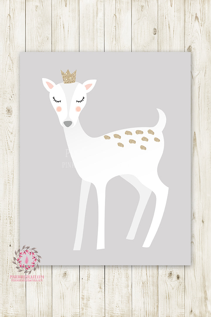 Sleeping Woodland Deer Wall Art Print Crown Woodland Baby Nursery White Gold Printable Decor